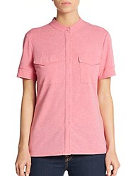 Lafayette 148 New York Heathered Button Front Shirt Cinnabar