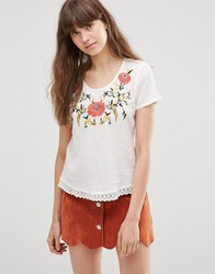 Vero Moda Floral Short Sleeve T Shirt Snow White