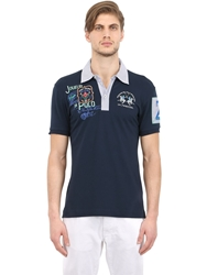 La Martina Stretch Cotton Pique Polo Shirt Navy