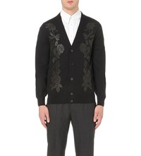 Alexander Mcqueen Rose Embroidered Wool Blend Cardigan Black