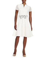 Badgley Mischka Lace Fit And Flare Shirtdress White