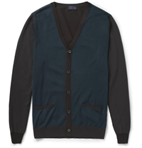 Lanvin Fine Knit Cotton And Wool Blend Cardigan Green