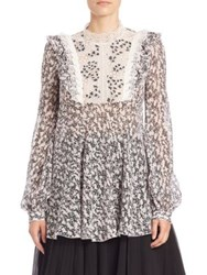 Giambattista Valli Georgette And Lace Printed Blouse Pink Ivory Lace