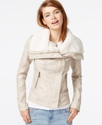 Guess Faux Fur Collar Faux Leather Jacket Stone