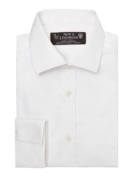 New And Lingwood Jacquard Tailored Fit Long Sleeve Shirt White