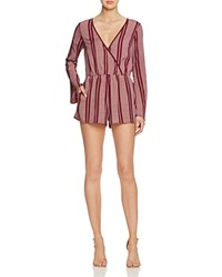 Band Of Gypsies Striped Wrap Effect Romper 100 Bloomingdale's Exclusive Burgundy Ivory
