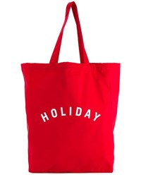 Holiday Logo Print Cotton Tote Red White