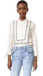 3.1 Phillip Lim Scarf Print Blouse With Tied Sleeves Ivory