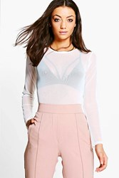 Boohoo Reghan Mesh Long Sleeve Top Ivory