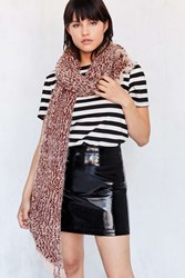 Urban Outfitters Teddy Boucle Knit Scarf Red