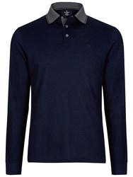 Hackett London Marl Tip Long Sleeve Polo Navy Black