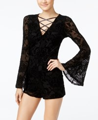 Material Girl Juniors' Flocked Bell Sleeve Romper Only At Macy's Caviar Black