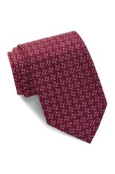 Tailorbyrd Horseshoe Silk Tie Red