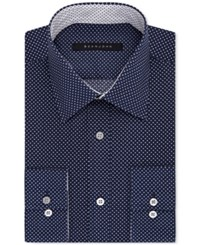 Sean John Men's Dot Print Classic Fit Dress Shirt Blue