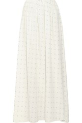 Band Of Outsiders Wrap Effect Embroidered Cotton Maxi Skirt Ecru
