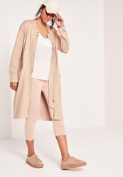 Missguided Longline Faux Suede Bomber Jacket Nude Grey