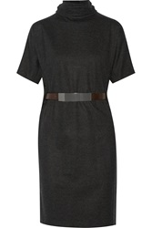 Brunello Cucinelli Belted Wool Dress Gray