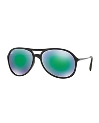 Plastic Aviator Sunglasses With Mirror Lenses Green Ray Ban
