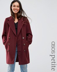 Asos Petite Pea Coat With Seamed Pockets Berry Red