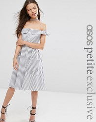 Asos Petite Stripe Summer Dress With Button Front Multi