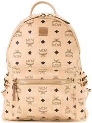 Mcm Logo Print Backpack Brown