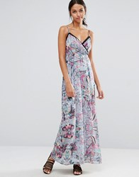 Yumi Uttam Boutique Floral Cami Maxi Dress With Cut Outs Blue