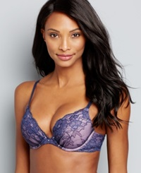 Maidenform Comfort Devotion Embellished Plunge Push Up Bra 9443 Navy Luminous Lilac