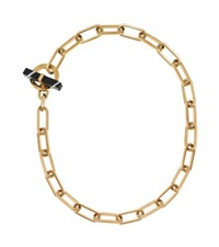 Michael Kors Gold Tone Black Agate Toggle Chain Necklace