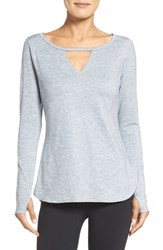 Zella Women's 'Rejuvenate' Keyhole Long Sleeve Tee Grey Wolf