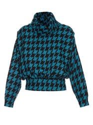 A.W.A.K.E. Punk Roll Neck Hound's Tooth Knitted Sweater Black Blue
