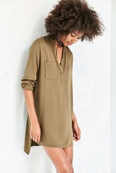 Silence And Noise Long Sleeve Half Placket Shirt Dress Green