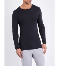 Hanro Long Sleeved Wool And Silk Blend Top Anthracite