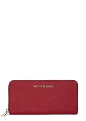 Michael Kors Jet Set Travel Continental Red Saffiano Leather Wallet
