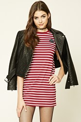 Forever 21 Oops Patched T Shirt Dress Burgundy Cream