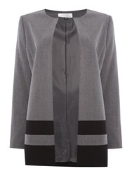 Tahari By Arthur S. Levine Asl Lightweight Topper Coat With Black Striped Hem Grey