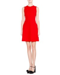 Giorgio Armani Sleeveless Seamed Fit And Flare Dress Red