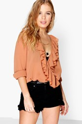 Petite Rosie Deep Plunge Frill Detail Woven Blouse
