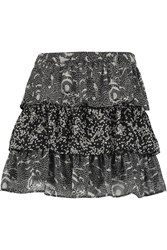 W118 By Walter Baker Mira Tiered Printed Chiffon Mini Skirt Black