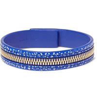 Want Les Essentiels Tambo Zip Detailed Leather Bracelet Cobalt Blue