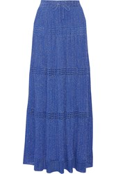 M Missoni Pleated Metallic Crochet Knit Maxi Skirt Blue