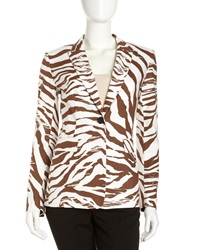 Lafayette 148 New York Mack Zebra Stripe Jacket Coconut