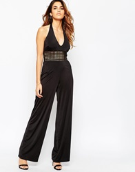 Asos Halter Jumpsuit With Weave Detail In Slinky Fabric Black