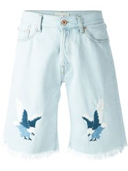 Off White Embroidered Eagle Denim Shorts Blue