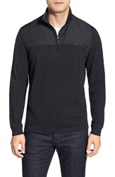 Men's Bugatchi Long Sleeve Quarter Zip Knit Sweatshirt Black