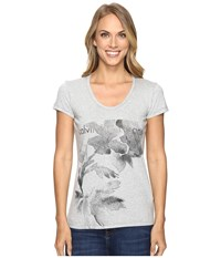 Calvin Klein Jeans Flower Logo Tee Light Grey Heather Women's T Shirt Gray