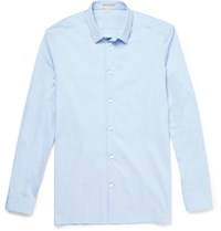 Balenciaga Slim Fit Cotton Blend Poplin Shirt Blue