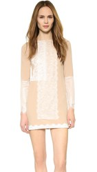 Loyd Ford Mini Dress With Lace Detail Beige