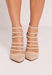 Missguided Elastic Strap Court Shoes Nude Beige