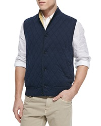 Loro Piana Quilted Button Front Sweater Vest