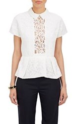 Carven Peplum Lace Top White Size 34 Fr